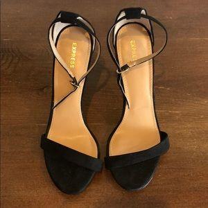 Express Sleek Suede Black Heel (Size 7.5)